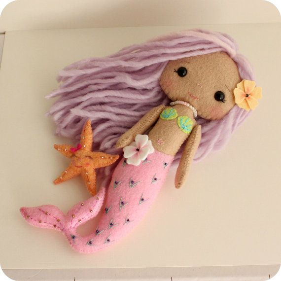 Downloadable felt doll sewing pattern for sale (PDF): Mermaid Girl, by Gingermelon on Etsy.com ($10.50 as of 25 Jan. 2014)