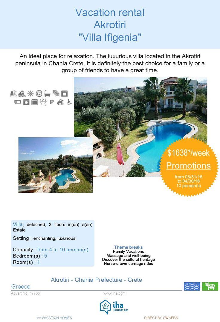 Short term rentals akrotiri villa ifigenia 47765