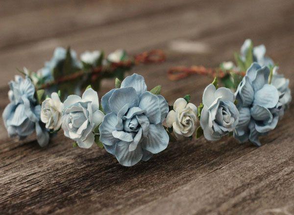 Dusty Blue Wedding Flower Crown Headband