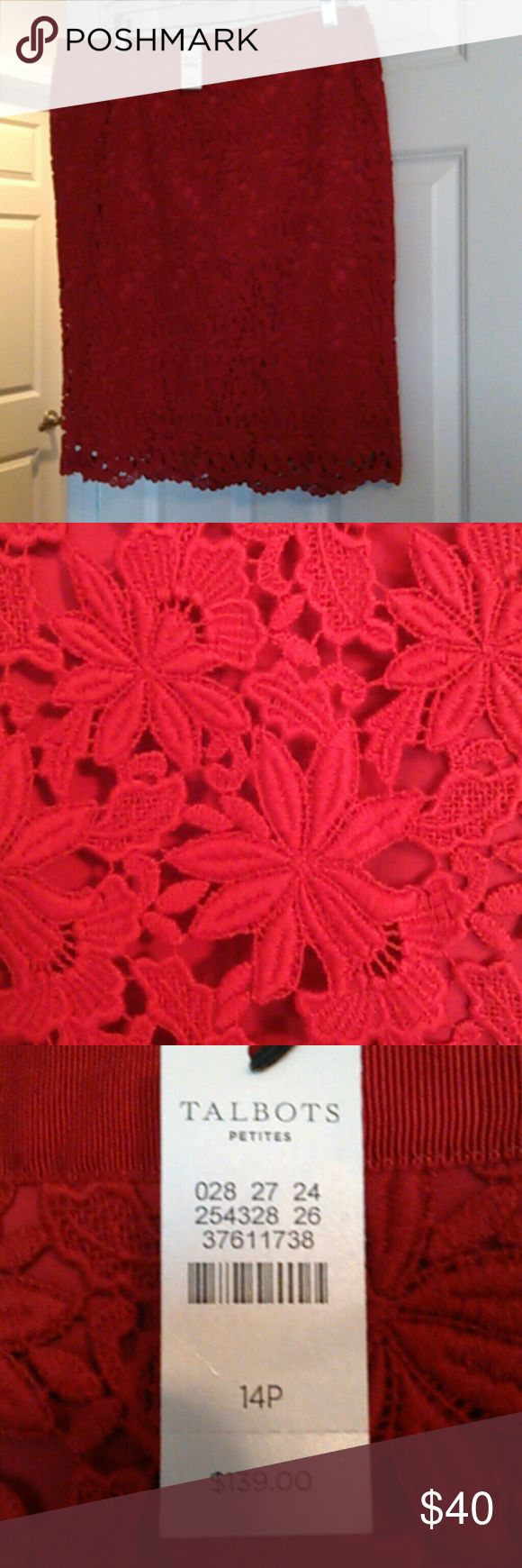 LAST CHANCE NWT Talbot's red lace pencil skirt 14P Beautiful cotton race bright red fully lined back zip with vent a stunning skirt Talbots Skirts Pencil