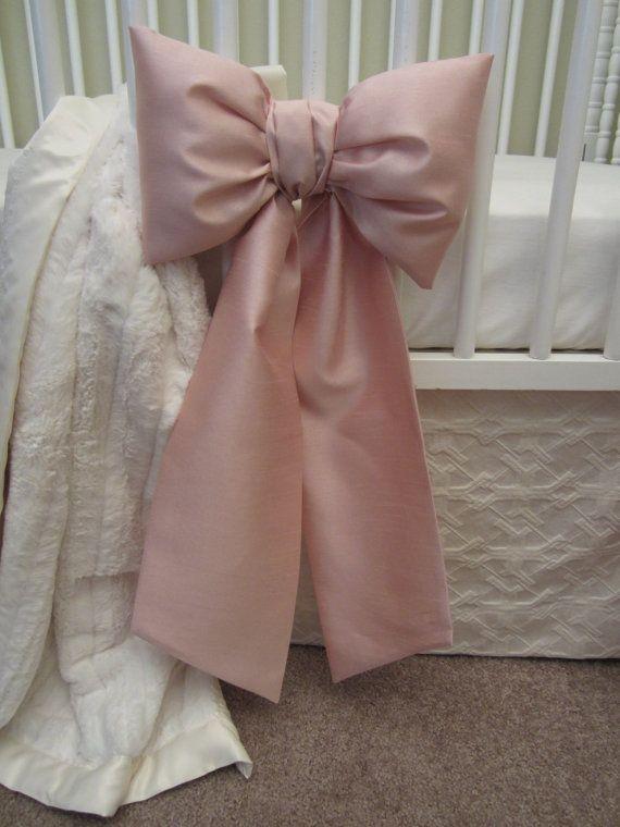 Crib Bows: neutral baby bedding, crib bedding, faux silk crib bow, baby girl bedding, curtain tie back, Custom Made to Order
