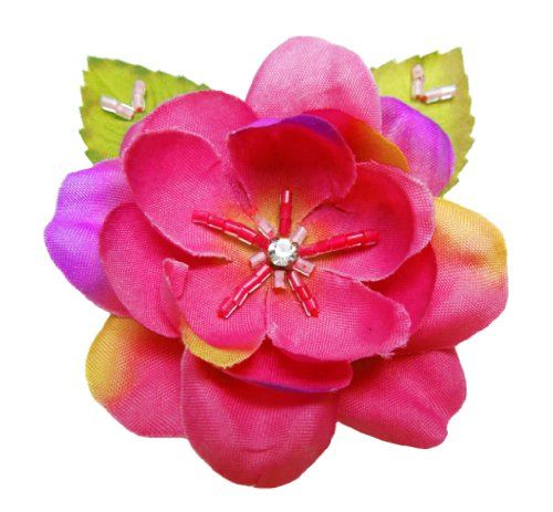 Cuteque International 6Piece Pack Rhinestone Embellished Colorful Garden Roses with Leaves Magenta -- Want additional info? Click on the image.