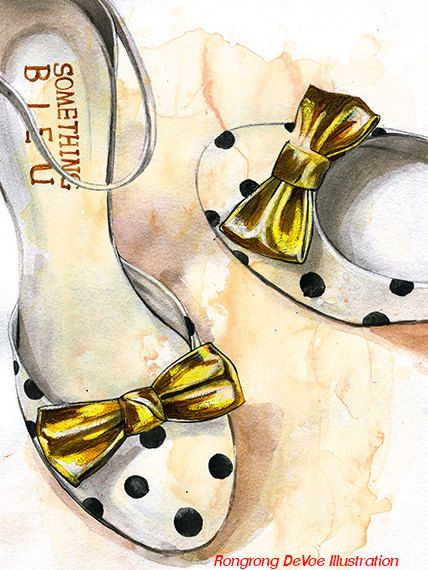 Polka dots shoe illustration Shoe por RongrongIllustration en Etsy