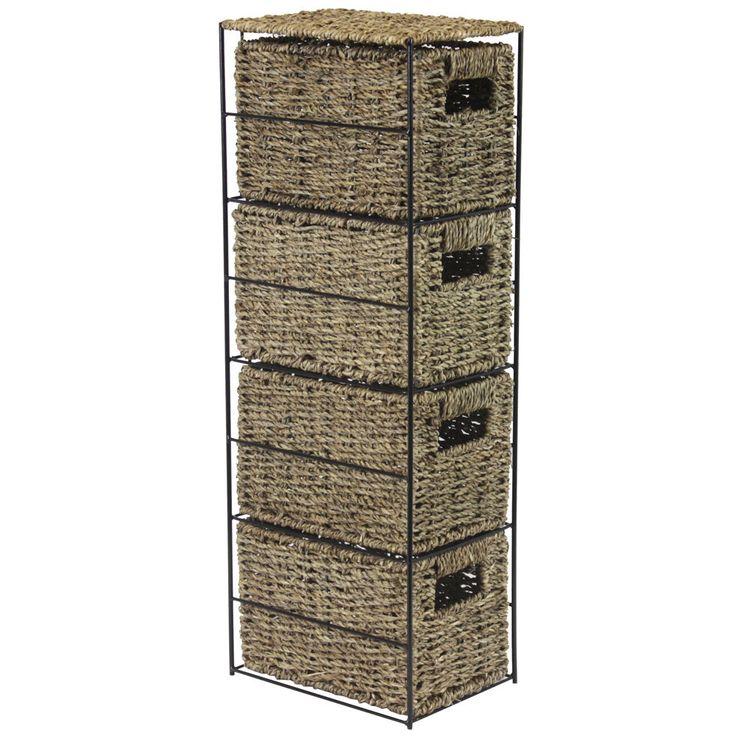 JVL 4 Drawer Seagrass Storage Tower Unit with Black Metal Frame in Home, Furniture & DIY, Storage Solutions, Storage Units | eBay!
