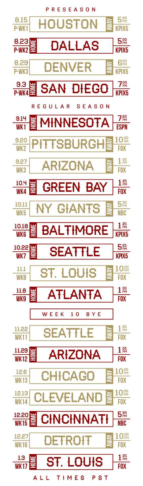 2015 Niner schedule, including preseason games