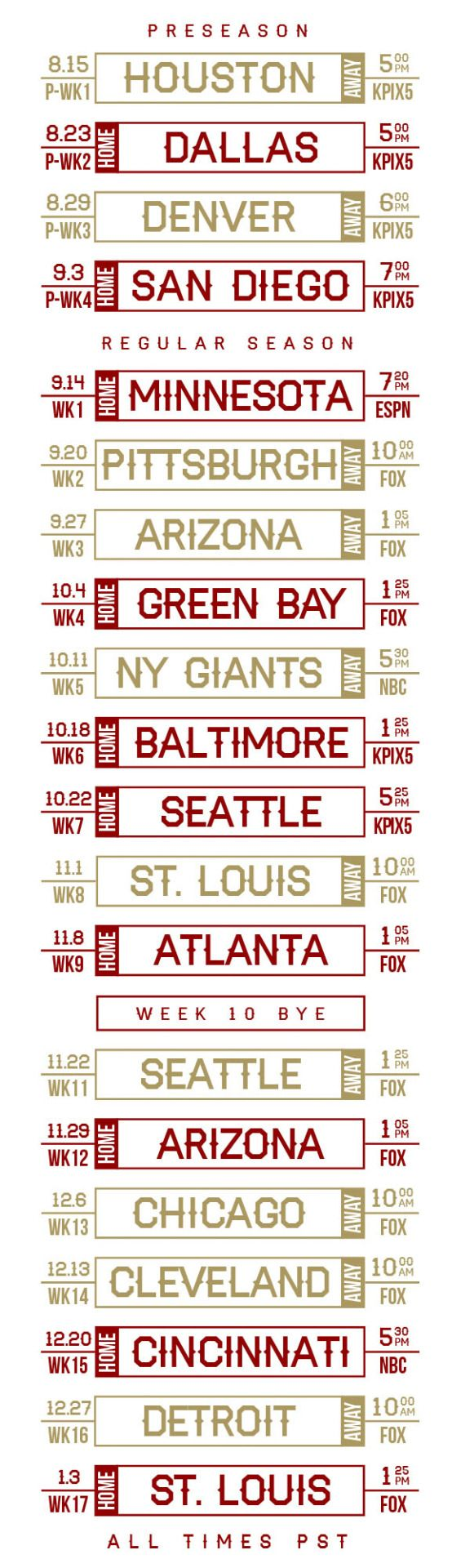2015 Niner schedule, including preseason games