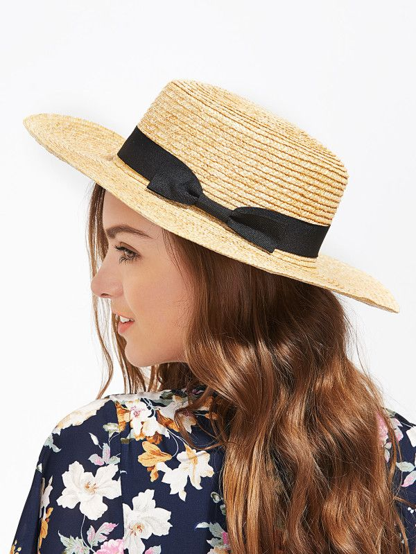 b199d1438df Bow Band Straw Boater Hat -SheIn(Sheinside) Модные Женские Платья