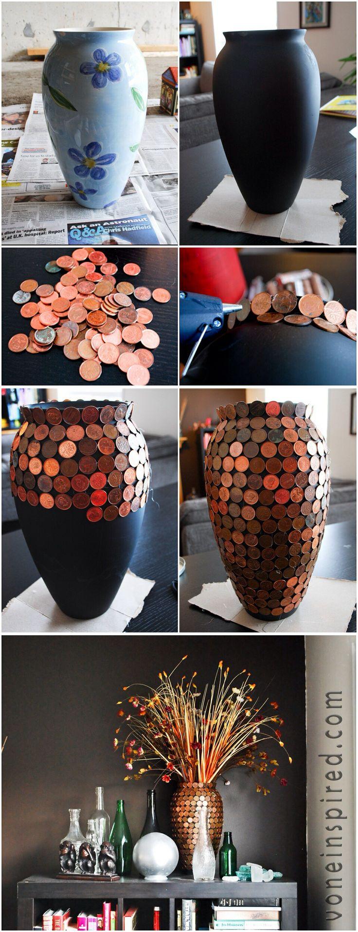 vase customisé avec des pièces