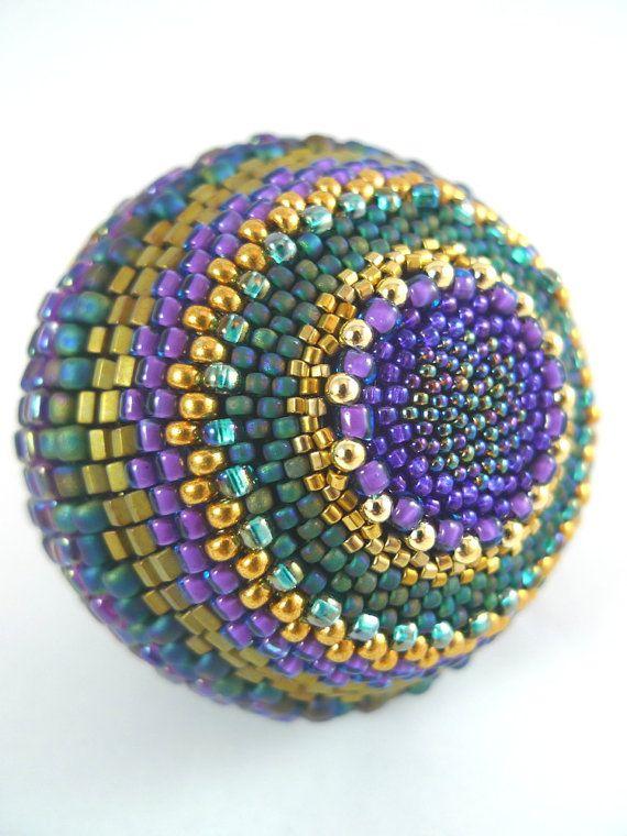 Handmade Textured Beaded Ball  Purple Teal Green by TheBeadedEgg