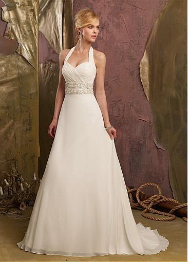 Stunning  Halter Neck Raised Waistline Wedding Dress