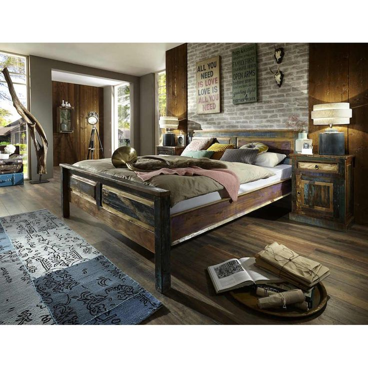 Vintage reclaimed wood super King beds designed using rustic recycled wood from old shipping boats, the best double bed you can buy for retro vintage design bedrooms U.K