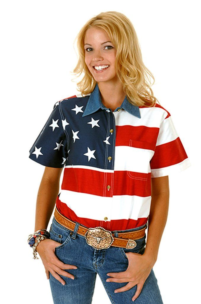 Roper Womens Patriotic Red 100% Cotton S/S Stars Stripes American Flag Shirt