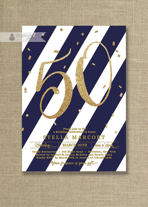 Navy Blue & Gold Glitter Birthday Party by digibuddhaPaperie