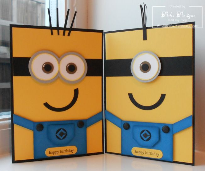 handmade birthday cards: Despicable me ... minion ... punch art ... great graphic feel from the bright yellow, black and blue plus strong lines ...