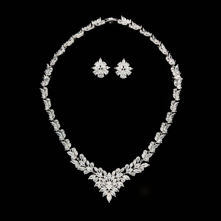 A Beautiful Cubic Zirconia Earrings And Necklace Set Which Will Have Your Guests Beaming With Envy