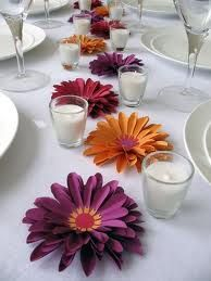 Simple table setting. Could have a huge impact with different flowers on a long table.