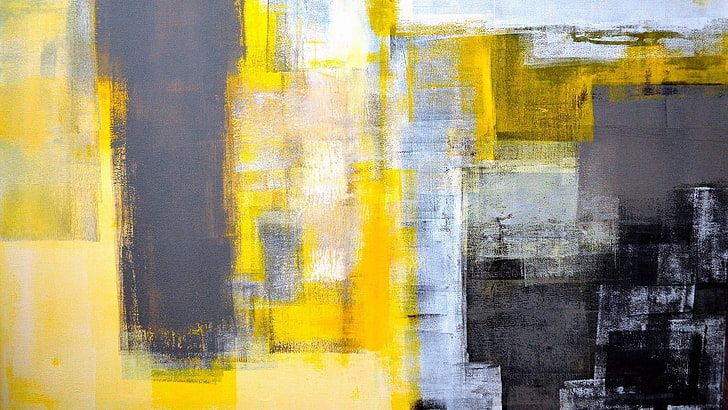 Painting Strokes Yellow Gray Black Abstract Art Modern Art Hd Wallpaper In 2020 Abstract Art Painting Grey Abstract Art Abstract Canvas Wall Art
