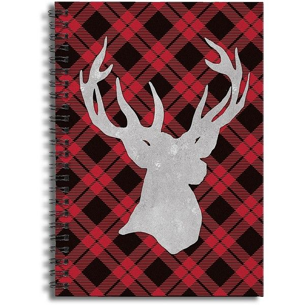 Plaid Reindeer Spiral Notebook ($13) ❤ liked on Polyvore featuring home, home decor and stationery