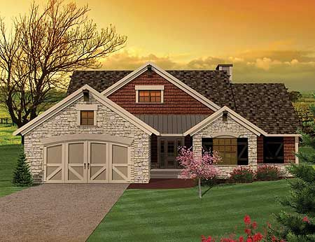Plan 89815ah 3 bedroom hill country rambler home design for Small rambler house plans