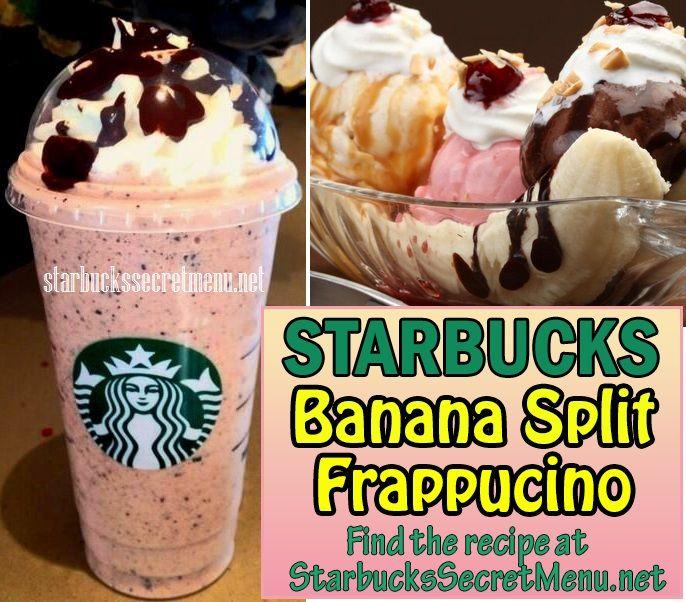 Try Starbucks Banana Split Frappuccino! A Classic dessert turned classic Frappuccino! #StarbucksSecretMenu Recipe here: http://starbuckssecretmenu.net/starbucks-secret-menu-banana-split-frappuccino/