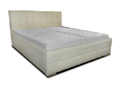 Białe tapicerowane łóżko (PL) / White upholstered bed (EN) by mebleskorzane.pl