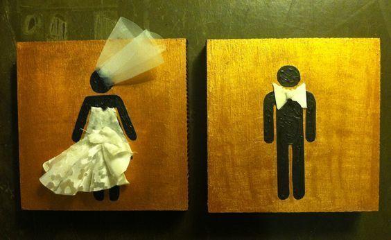こんなところまで結婚式仕様!披露宴会場にお洒落な『トイレサインプレート』を飾るのが海外では定番です*にて紹介している画像