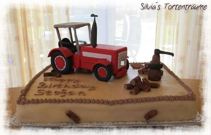 Silvia's Tortenträume: Traktor Fondant Holz Holzstücke Marzipan Anleitung Tutorial Traktor