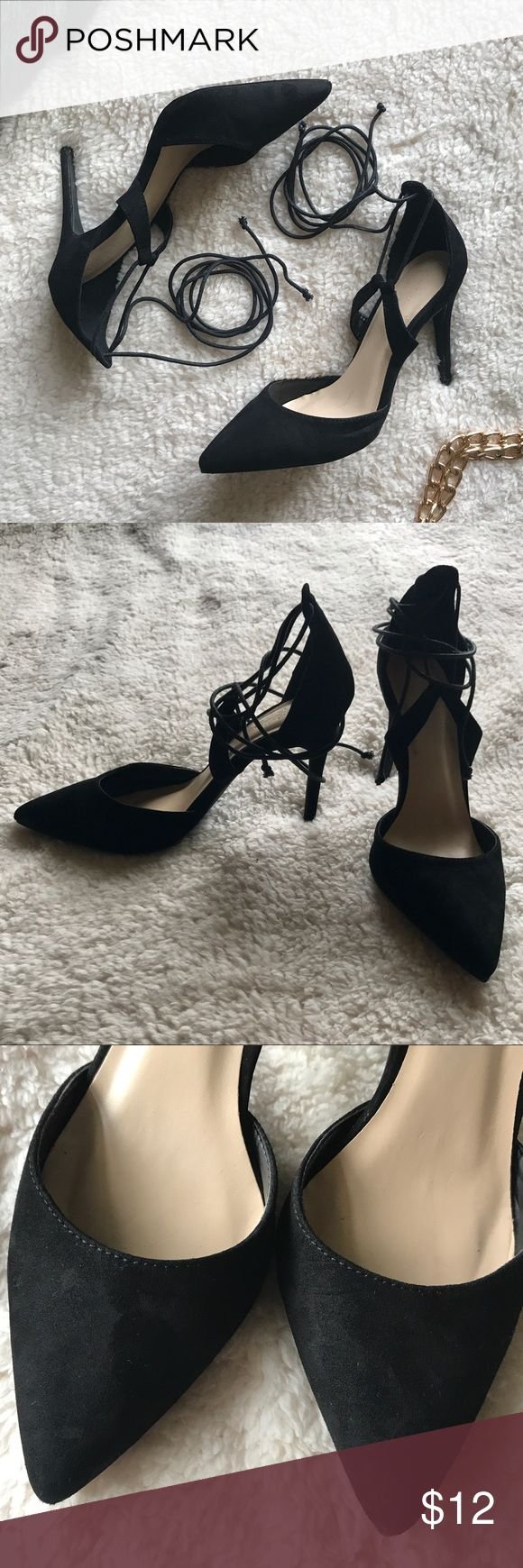 """Charlotte Russe Tie-Up Black Heels Worn twice, good condition. About 4"""" high. The shoes are in a fuzzy, velvet-like material. A cute compliment to formal/semi-formal dresses. Charlotte Russe Shoes Heels"""