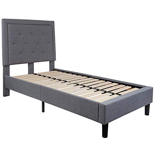 OLIVER Button Tufted Upholstered Twin Size Headboard in Gray Vinyl EMMA