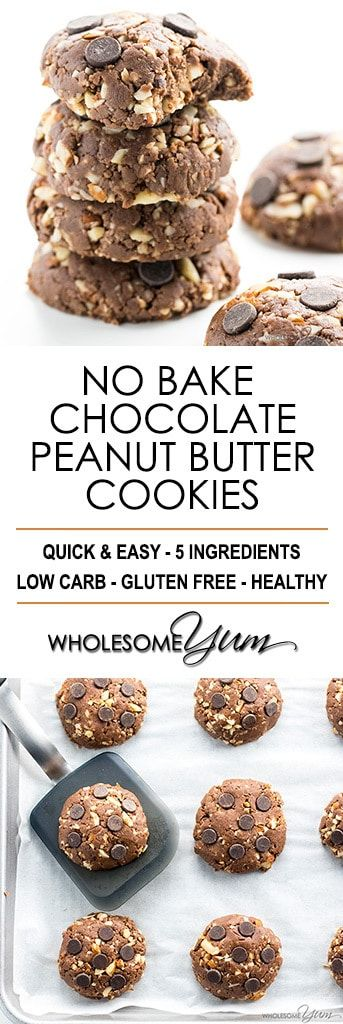 Easy Low Carb Peanut Butter Chocolate No Bake Cookies Recipe - These low carb peanut butter chocolate no bake cookies are easy to make with just 5 ingredients and taste amazing. The best no bake cookies I've ever tried! #LowCarb #GlutenFree #PeanutButter #Cookies