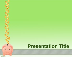 Free Income Statement PowerPoint Template with green background and penny bank