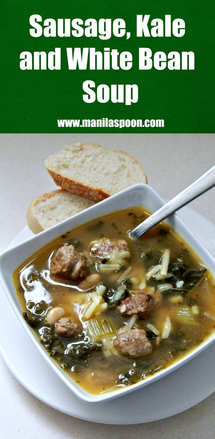 In 30 minutes you have a delicious, nutritious and hearty soup for the whole family -  Italian Sausage, Kale and White Bean Soup. Easy recipe, too.