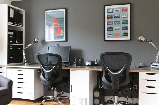 Home Office IKEA hack using Bergstena Kitchen Worktops and Alex drawer units