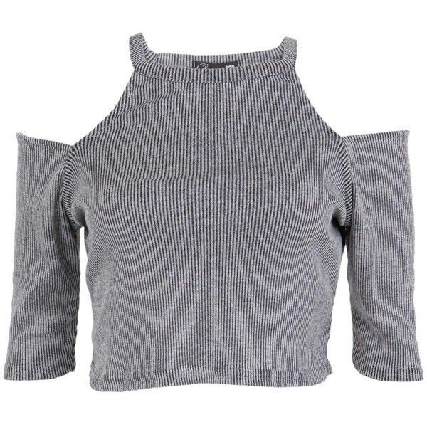 Cut Out Shoulder Crop Top in Grey ($12) ❤ liked on Polyvore featuring tops, cut shoulder tops, grey top, cropped tops, low top and cold shoulder tops
