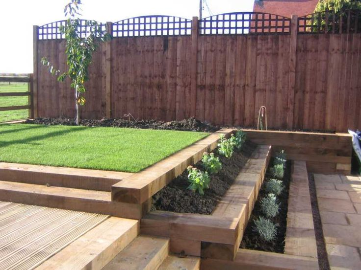Landscaaping with new Baltic pine railway sleepers - no creosote.  Architectural, regular look.  c. £160/1000x3600mm