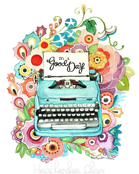 Typewriter and Flowers Watercolor Painting Print