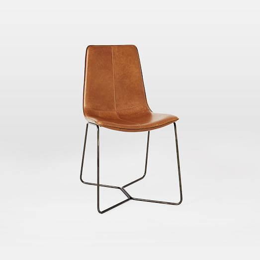 Leather Slope Dining Chair | west elm -- could do 2 of these at the dining table + 2 benches