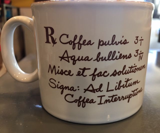 #kookykitsch Rx Medical Prescription for Coffee Break Mug Latin Doctor Medicine Made in England kitschy coffee cup