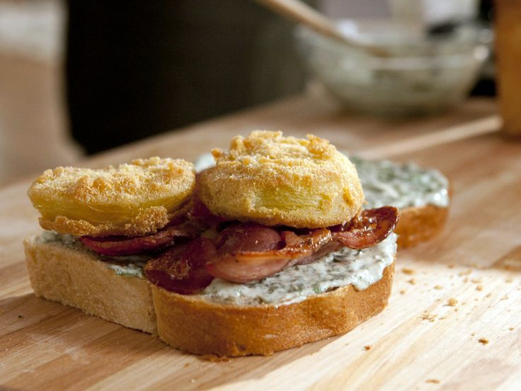 Fried Green Tomato BLT with Sweet Basil Mayo from CookingChannelTV.com