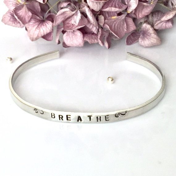 Breathe Bracelet Hand Stamped Thin Cuff  by AprilHyltonDesigns