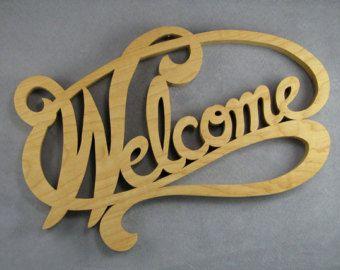 Welkom teken kunst aan de muur, hout welkom teken Figuurzagen woord kunst esdoorn hout