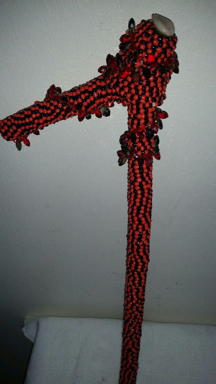 Natural Guava stick guayaba  Garabato (hook stick) approx 19 in. Covered with glass seed beads For #Orisha #orisa #eshu #elegua #ellegua #elegba #garabato #guayaba #africanculture #africanspirituality #blessed #maferefun #yoruba #santeria #ifa  #lucumi #ceremony #Ocha #ase #ashe' custom designs https://www.etsy.com/shop/DesignsbyLWhite