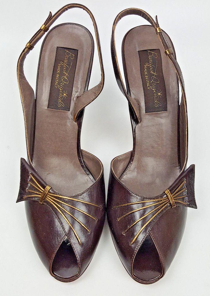 Barefoot Originals shoes 8.5 vintage Italian leather dark brown slingbacks