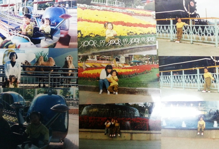 My first travel to the Everland.  maybe i was 4 at that time and i lived very small town far from Seoul. So i went Everland as a spring trip of kindergarden. i can't remember well, but i am sure i was happiest child at the moment. and i was with my mom and l have big smile on my face in this picture