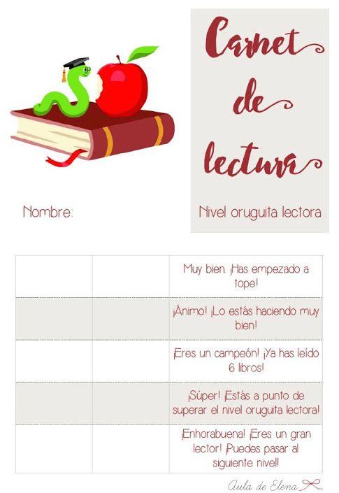 Carnet de lectura nivel ORUGUITA LECTORA del blog Aula de Elena. Descargable…