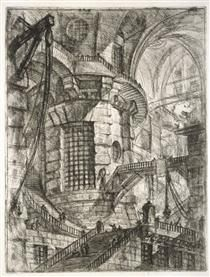 Круглая башня, пластина III от `Carceri d`Invenzione` - Пиранези