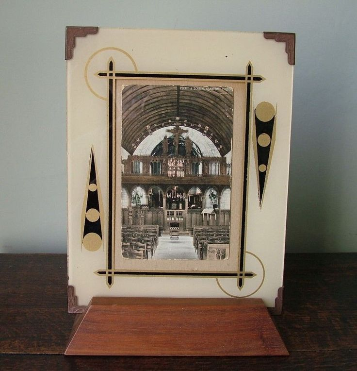 ORIGINAL ART DECO 1930's REVERSE-PAINTED GLASS PICTURE FRAME with WOODEN  SUPPORT