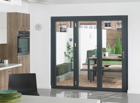 Supreme Aluminium Bi Fold Doors 8ft Grey External