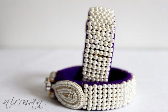 Indian wedding bangle Single Purple Hand knit by NirmanCreations