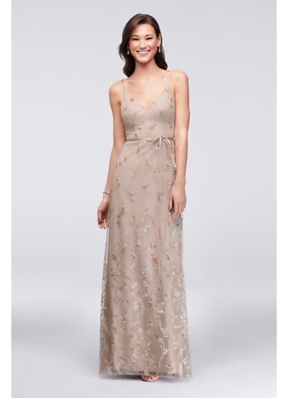 Long Brown Soft   Flowy David s Bridal Bridesmaid Dress  3713e714a
